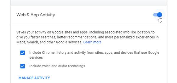 غیرفعال کردن فعالیت وب و برنامه های گوگل