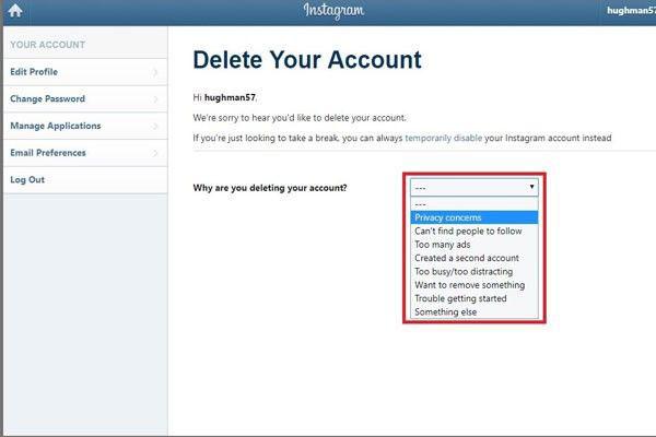 حساب اینستاگرام خود را حذف کنید