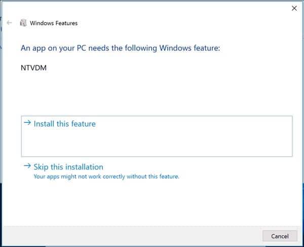فعال کردن 16-bit Application Support در ویندوز 10