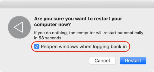 """غیرفعال کردن """"بازگشایی پنجره ها"""" هنگام خاموش کردن"""