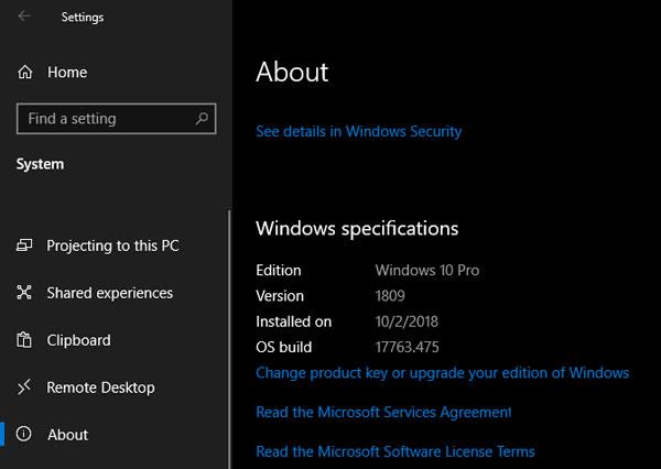 نحوه بررسی نسخه ویندوز 10 از طریق تنظیمات