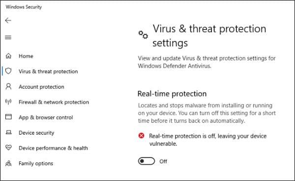 غیر فعال کردن Real-Time Protection
