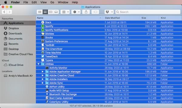 لیست برنامه های نصب با استفاده از Finder و TextEdit