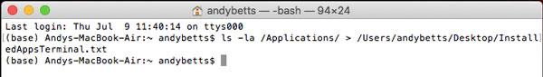 لیست تمام برنامه های نصب شده در مک با ترمینال