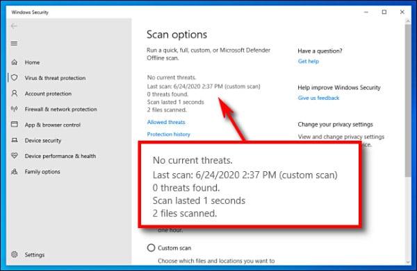 بررسی ویروسی بودن فایل در ویندوز 10 با ویندوز دیفندر
