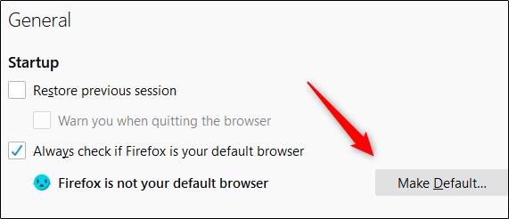 انتخاب فایرفاکس به عنوان مرورگر پیش فرض ویندوز در فایرفاکس