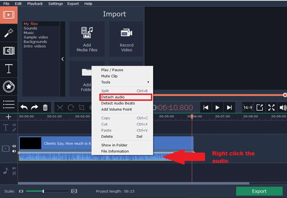 نحوه حذف صدای ویدئو با استفاده از Movavi Video Editor
