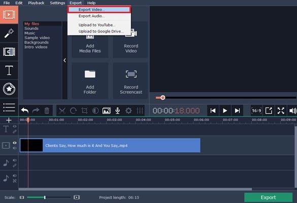 پاک کردن آهنگ فیلم با استفاده از Movavi Video Editor