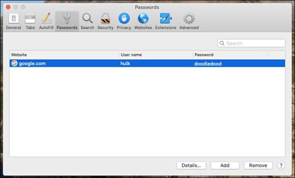 رمز های ذخیره شده مرورگر سافاری مک