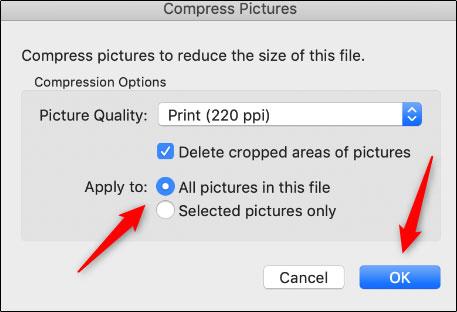 فشرده سازی تصاویر مایکروسافت ورد در مک