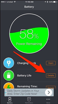 با برنامه Battery Life Doctor مشخصات بیشتری کسب کنید