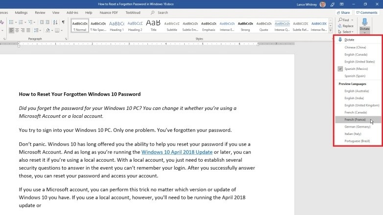 How to Dictate Text in Microsoft Office