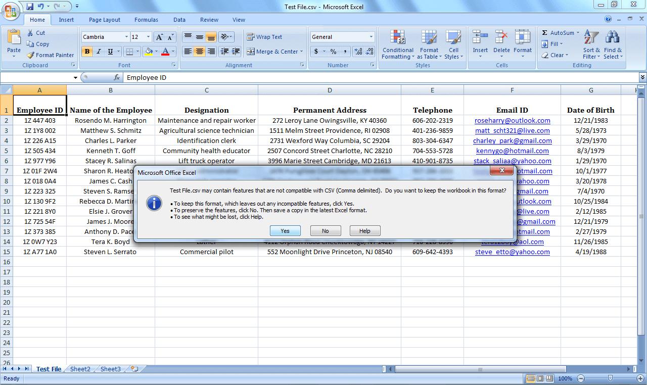 فایل اکسل را به ویندوز به vcf تبدیل کنید