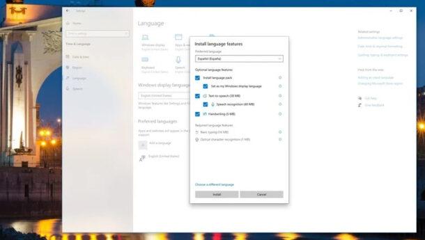 تغییر زبان ویندوز 10