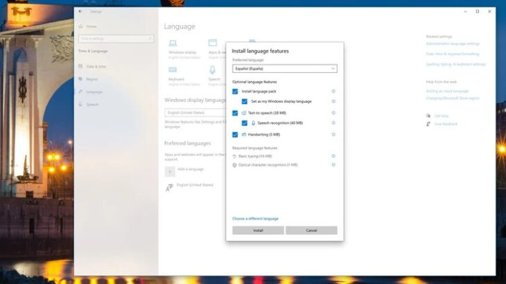How to change system language on Windows 10