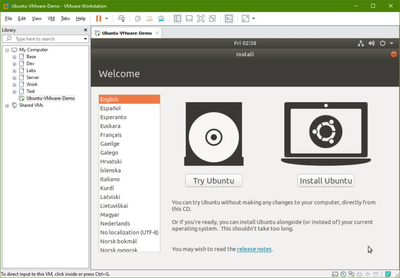 اوبونتو را روی vmware نصب کنید