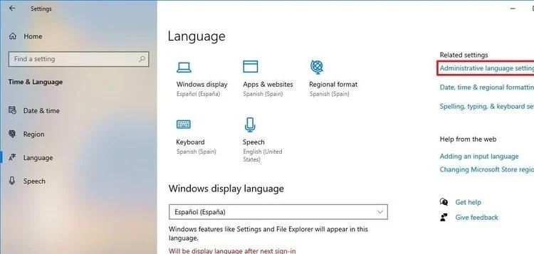 change system language on Windows 10