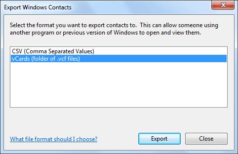 صادرات مخاطبین به vCard