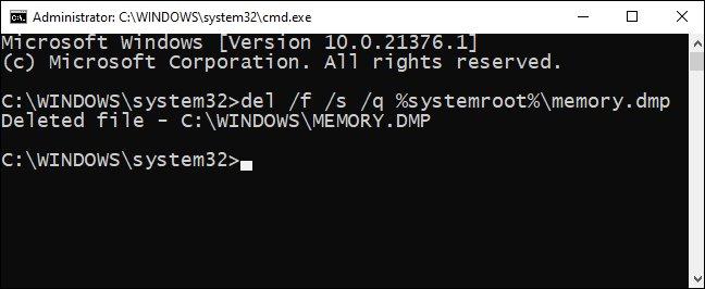 با استفاده از CMD پرونده های ریخته شده را حذف کنید