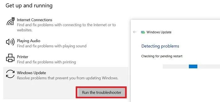 Run the Windows Update troubleshooter