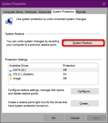 Start System Restore