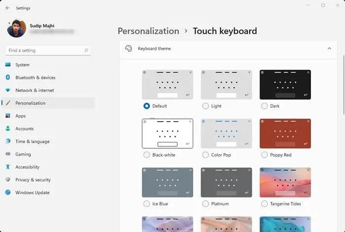 شخصی سازی صفحه کلید لمسی در ویندوز 11